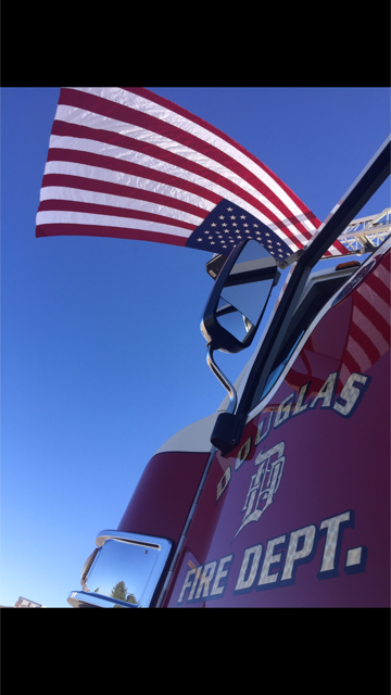 Douglas Fire Truck and American Flag